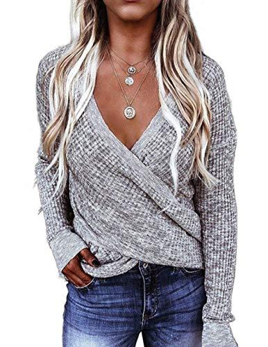 Damen Pullover Strickpullover Oberteile Pulli Sweatshirt Loose Langarmshirt Herbst Winter Langarm Sexy V-Ausschnitt Batwing Cross Front (3003-Grau, m)