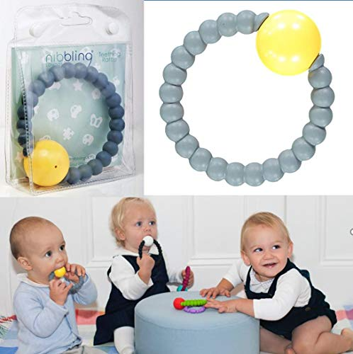 Nibbling | Premium Rattle Ring | Perfect for Teething Babies | Made from Non-Toxic Silicone | BPA Free | (Grey)