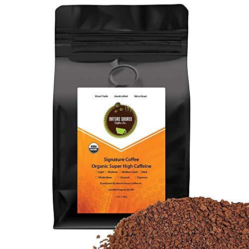 Super High Caffeine Organic Coffee, 12 oz, Dark Roast (Espresso/Fine Grind)