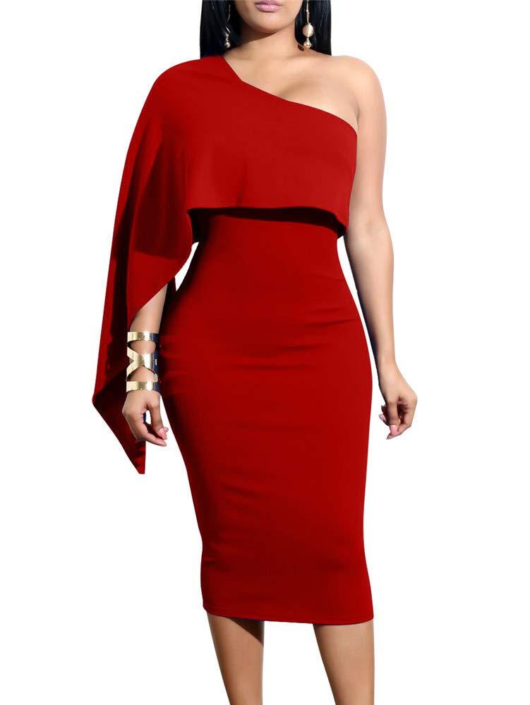 Red Dress - Womens Flounce Bell Sleeve Office Work Casual Pencil Dress