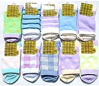 ソックス レディース セット 靴下 かわいい パステル柄 おしゃれな靴下 23-25cm 10足セット