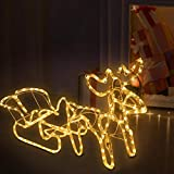 aonear Pre-Lit LED Light Up Single Reindeer and Sleigh Set, Christmas Holiday Figures Decoration for Lawn Garden Indoor Outdoor Use (Warm White)