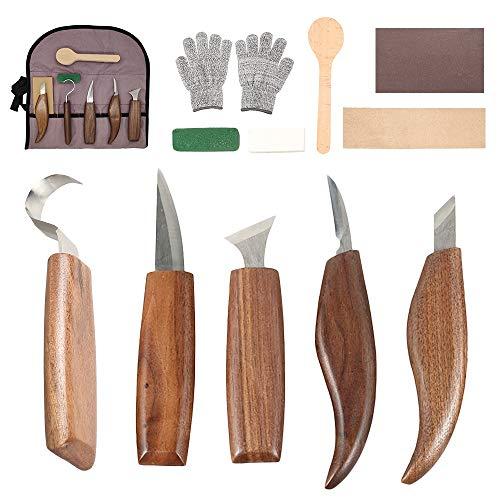 12Pcs Outils Sculpture sur Bois en Acier Carbone Ensemble d'outils de Sculpture sur Bois avec Couteau à Crochet Couteau à Découper Outils de Gravure en Bois Professionnels pour Travail du Bois