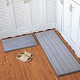 Eazyhurry Felpudo rectangular de franela, para decoración del hogar, para interiores y exteriores, alfombra de cocina, alfombra de suelo de rayas grises, 39,9 x 59,9 cm