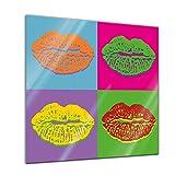 Glasbild - Pop-Art - Lippen 30x30 cm - Deko Glas - Wandbild aus Glas - Bild auf Glas - Moderne Glasbilder - Glasfoto - Echtglas - kein Acryl - Handmade