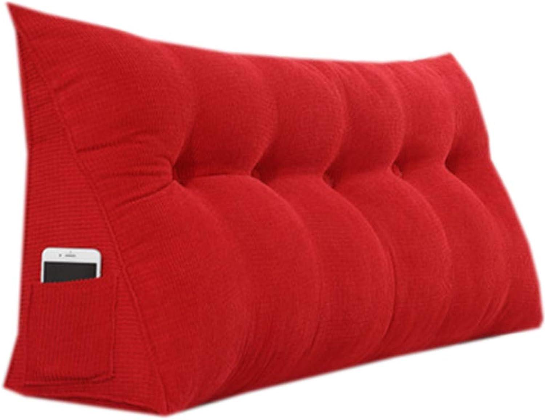 JYW-kaodian Tête De Lit Coussin Wedge PilFaible Housses, Coussin Triangle de Chevet Chambre Double Canapé Sac Souple Amovible Disponible en 4 Couleurs, 6 Tailles,rouge,100  50  22cm