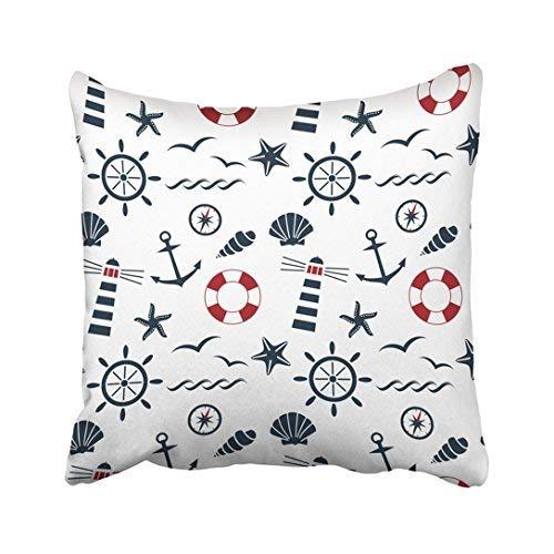Funda de almohada decorativa para el hogar, 45 x 45 cm, diseño de ancla azul marino, náutica sobre el ráster blanco, rojo, navegación naval, funda de cojín, 45 x 45 cm, cuadrada, decorativa para sofá, accesorio para el hogar