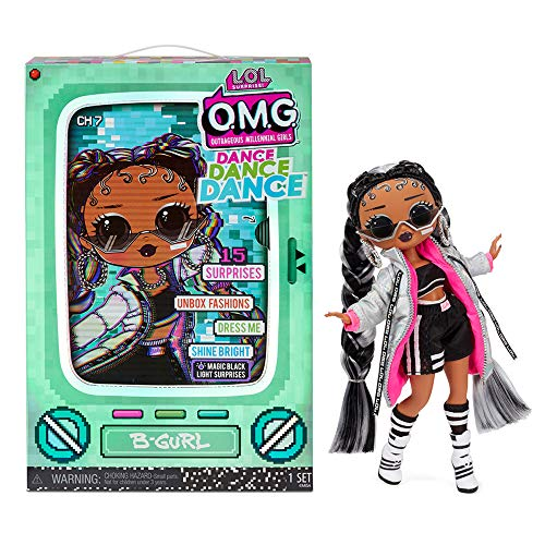 LOL Surprise OMG Dance Dance Dance B-Gurl Fashion Doll with 15 Surprises Including Magic Black Light, Shoes, Hair Brush, Doll Stand and TV Package - Great Gift for Girls Age 4+