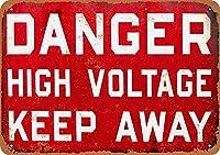 危険高電圧はティンサインの装飾ヴィンテージ壁の金属プラークレトロバードの鉄の絵画カフェバー映画ギフト結婚式誕生日警告