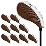 Andux Couvre-Clubs de Golf à Maille Avez zippé Capuchon de Golf 10pcs Brune/Gris MT/YB003