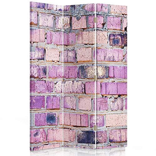Feeby Frames. Raumteiler, Gedruckten auf Canvas, Leinwand Wandschirme, dekorative Trennwand, Paravent einseitig, 3 teilig (110x150 cm), Ziegel, Wand, Stein, LILA