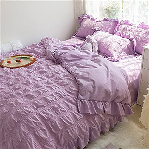 4piezas Funda nordica - 1fundas nórdicas de +1 Sábana + 2 Fundas De Almohada- Volante fruncido Juego de Ropa de Cama de satén de Cremallera Microfi(Size:2.0M Bed Super King Quilt ,Color:púrpura)
