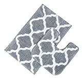 Pauwer Bath Rug Set 2 Piece Bathroom Contour Rug Combo Non Slip Microfiber Bath Shower Mat and U-Shaped Toilet Rug (21' x 34'+20'x 20', Grey and White)