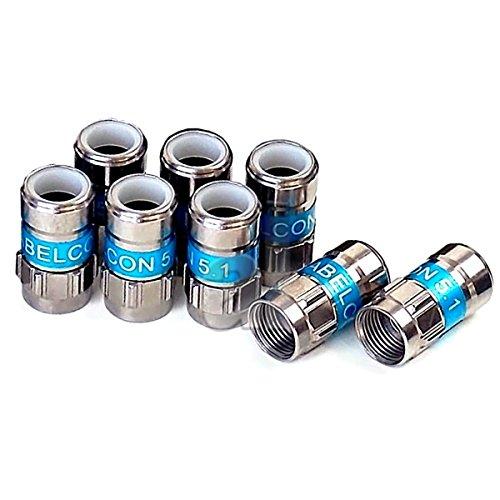 8 Stück Cabelcon F-56 5.1 Self Install F-Kompressionsstecker blau RG6 / 7 mm NiTin