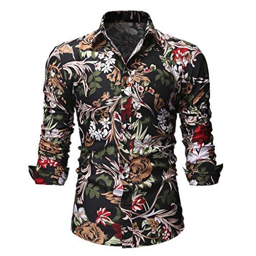 UJUNAOR Camicie Uomo Maglia A Maniche Lunghe,Slim,Fit,Originale Camicia con Bottoni Elegante Stampato Floreale,S/M/L/XL/XXL(Medium,Nero)