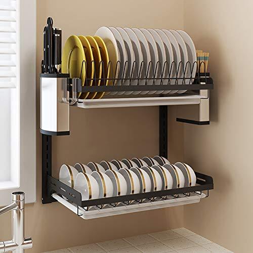 BCXGS afdruiprek, 2 lagen afdruiprek, roestvrij staal, voor het opbergen van schalen, borden, eetstokjes, messen - wandmontage