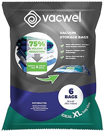 Vacwel Jumbo Vacuum Storage Bags for Clothes,...
