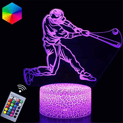 Béisbol 3D Ilusión Óptica 3D Ilusión Noche Estado de ánimo Multicolor Luz Blanca Cálido Cambio Mesa Escritorio Regalo de Vacaciones Juguete