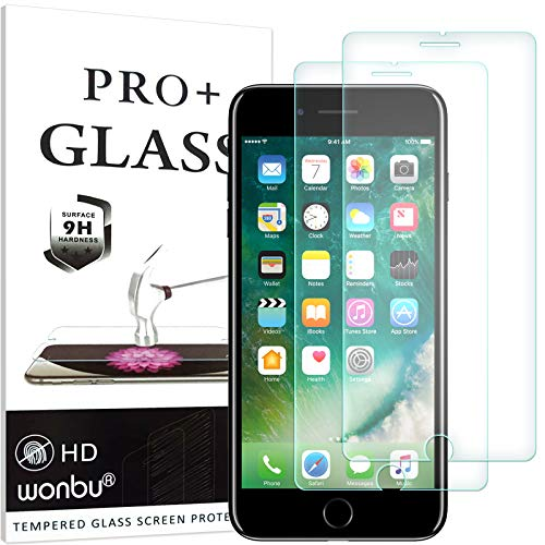 wonbu 2 Unidades, Cristal Templado para iPhone 6, iPhone 6S, iPhone SE 2020, Antiarañazos, 9H, 0.33 mm, Antihuellas, Protector de Pantalla Ultra Resistente
