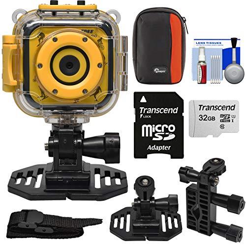 Precision Design K1 Kids HD Action Camera Camcorder (Yellow/Black) with Helmet & Handlebar Bike Mounts + 32GB Card + Case + Kit