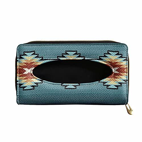 XYZCANDO Blue Aztec Graphics Print Car Visor Tissue Holder, Sun Visor Napkin Holder for Women Men, Premium Car Tissue Box for Car, Vehicle, PU Leather Tissue Holder, Backseat Tissue Case