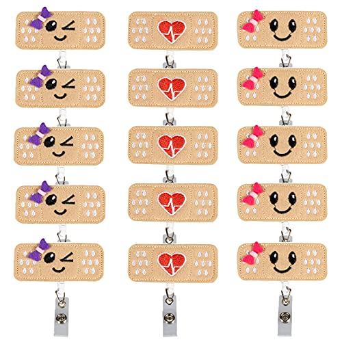 MOTZU 15 Pieces Retractable Badge Holder, Nurse ID Badge Reel Holder, Felt Bandage Badge Reel with Alligator Clip - Perfect Nurse Gifts for Women, Nurses, Students & Teachers
