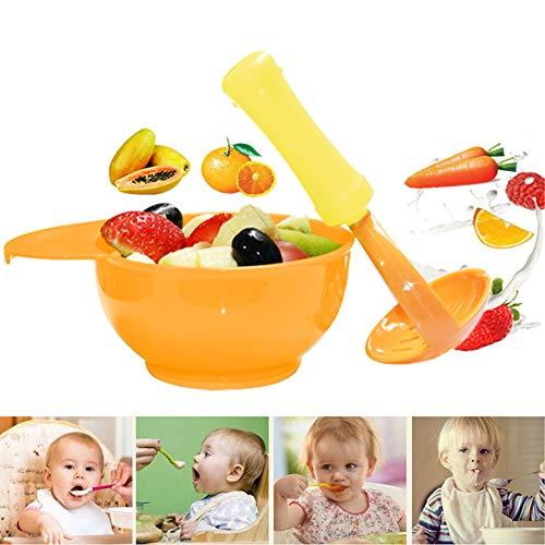 INTVN Schüssel und Stampfer, 2 Stücke Schleifen Schüssel Set Multifunktions Grinder Manuelle Babynahrung Masher Maker Werkzeug, für Zubereitung von Selbstgemachter Babynahrung