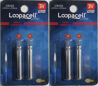 4 Loopacell CR435 BR435 435 Lithium Pin Type Cell 3V Batteries for Fishing Lures, Fishing Bobbers, Pen Lights, Arrow Nocks, Fishing Floats, Pole Lights, LED Flashers,
