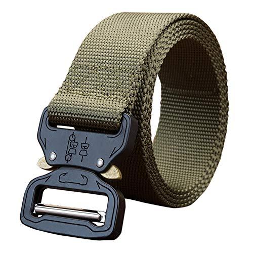 STRIR Cinturón de Cintura táctico de Patrulla de Hombres Lona de Nylon Aliento Hebilla de Metal Función múltiple Equipo de Trabajo Pesado al Aire Libre (115CM, F)