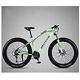 Xiaoyue 26 Zoll Gebirgsfahrrad, High-Carbon Stahlrahmen Fat Tire Mountain Trail Bike, Männer Frauen Hardtail Mountainbike mit Doppelscheibenbremse, Grün, 27 Speed-Spoke lalay