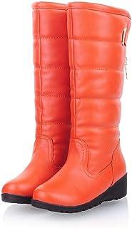 6afd73df4ed Hoxekle Women Knee High Boots Slip On Wedge Low Heel Antislip Round Toe  Faux Fur Lining