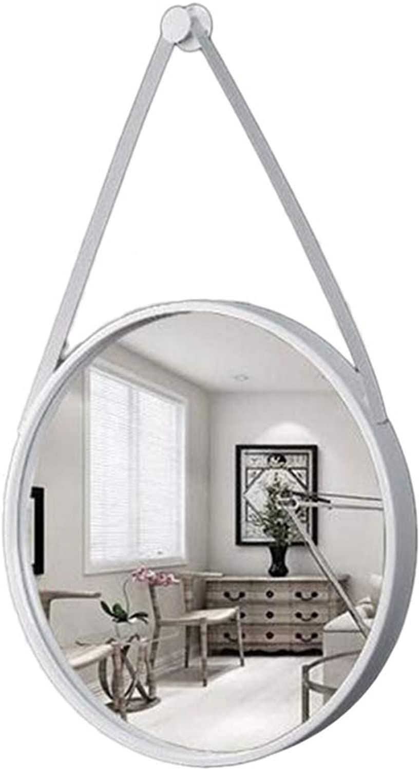 Iron Art Wall Mirror, Bathroom Round Vanity Mirror Bedroom Wall-Mounted Makeup Mirror Entrance Dressing Mirror,White,D30CM