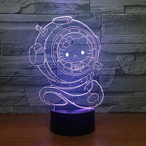 ZGQQQ Optical Illusion Lamp 3D LED Night Light 7 Color Hello Kitty Desk Decoration Lamps for Baby Bedroom Children Cadeau d'anniversaire