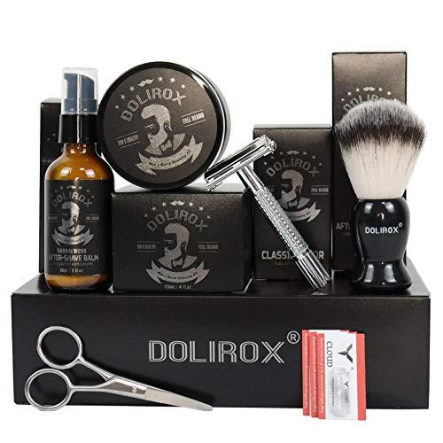 Shaving Kit for Men, Include Safety Razor, Sandalwood Shaving Cream & After-Shave Balm, Shaving Brush, Beard Scissor & Aloe Vera Gel-Shaving Gifts Set for Men Dad (Black)