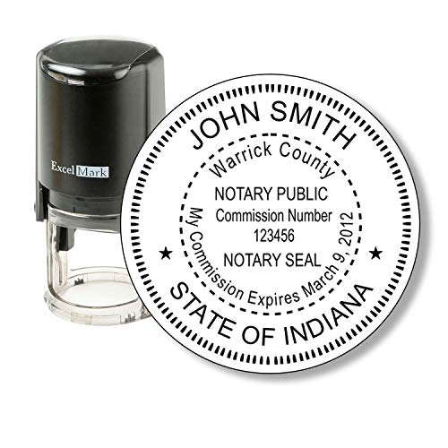 ExcelMark A-43 Self-Inking Round Rubber Notary Stamp - State of Indiana