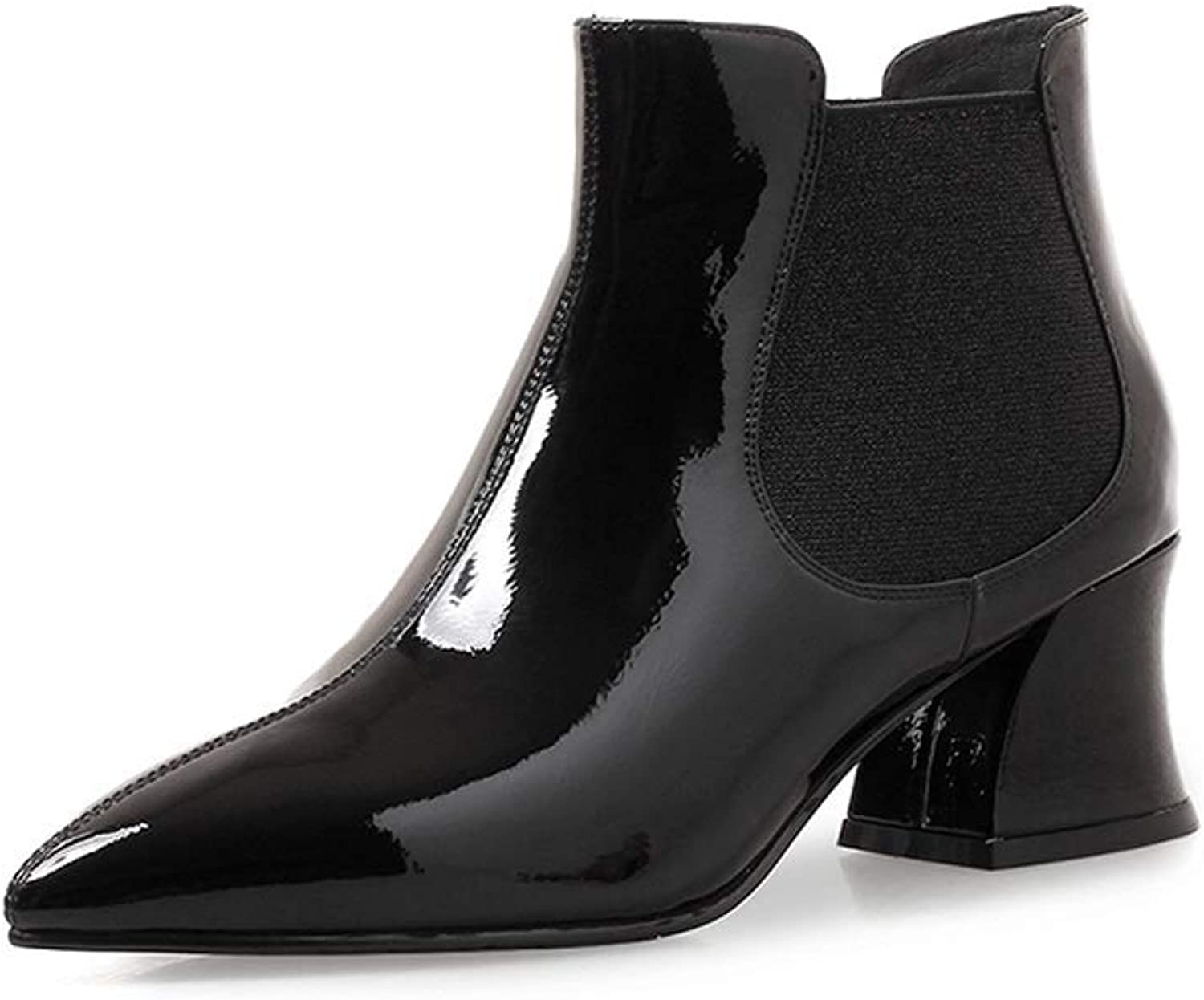 Spring and Autumn New Leather Small Heel Boots Women's Patent Leather Slim Short Tube Flat Boots Bright Leather Black Red Martin Boots Old shoesmaker Handmade (color   Black, Size   34)
