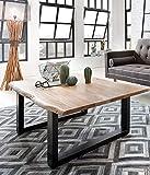 SAM Couchtisch 120x80 cm Quarto, echte Baumkante, massiver Sofatisch aus Akazienholz, Metallbeine schwarz, Baumkantentisch