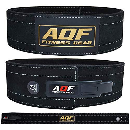 AQF Cintura Palestra Uomo Pelle 4  per Sollevamento Pesi, Suède Pelle Cintura Powerlifting Fibbia a Leva Supporto Lombare pour Fitness & Bodybuilding (L)
