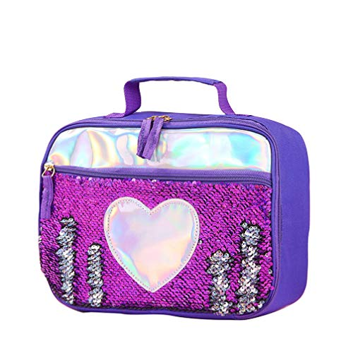 TENDYCOCO Kinder tragbare Lunchpaket Lunchpaket Kühltasche Picknick Taschen Mahlzeit Erhaltung Aufbewahrungstasche für Kind-lila