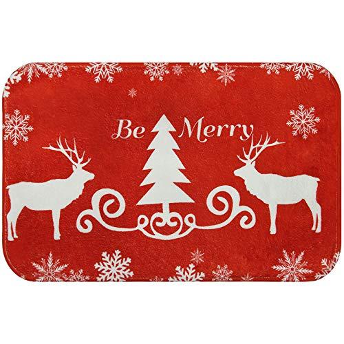 Bateruni Be Merry - Alfombra roja clásica, diseño navideño de copos de nieve, ciervo, franela, tamaño pequeño, 40 x 60 cm, color rojo