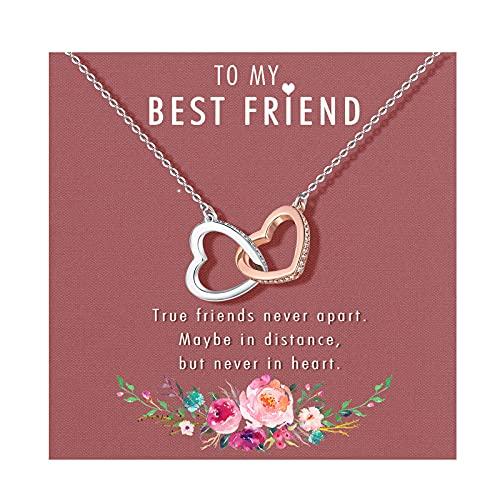 Best Friend Necklaces, Gifts for Best Friend, Interlocking Heart Necklace,...