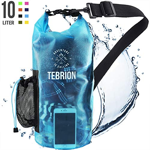 TEBRION 10L / 10L  20L Premium Waterproof Dry Bag  Roll Top Sack Keep Gear Dry and Safe Perfect for Kayaking Rafting Boating Surfing Fishing  10 Liter Transparent Blue