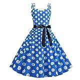 YLDCN Faldas para Niña Vestido De Verano De Lunares Vintage con Cinturón Vestidos De Mujer-Blue_XL