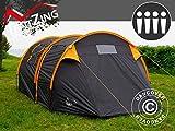 Dancover Campingzelt, TentZing® Tunnel, 4 Personen, Orange/Dunkelgrau