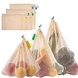 Zindoo Bolsa Reutilizable Algodon, Alternativa al plástico, Lavable y Transpirable Bolsa de Malla para Almacenamiento Fruta Verduras Juguetes 6PCS (2S*2M*2L)
