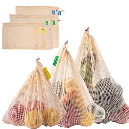 Zindoo Riutilizzabili Borse per Frutta Sacchetti per Alimentari in Cotone Organico Lavabile Eco Friendly Sacchetti Conservare Frutta, Verdura e Giocattoli 6 Pezzi