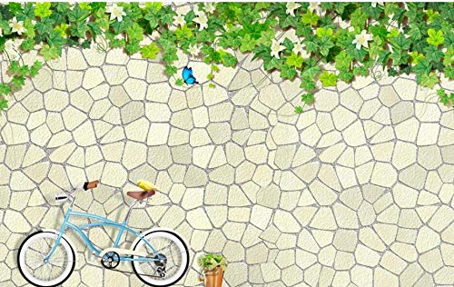 Papel tapiz fotográfico Bicicleta con patrón de azulejos 3D Lana Fondo De Pantalla XXL Papel pintado tejido no tejido Moderna Decoración De Pared Sala Cuarto 250 X 175 cm