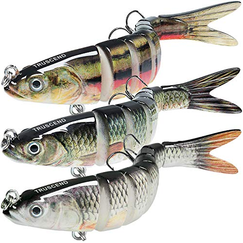 """TRUSCEND Fishing Lures for Bass Trout 5.4"""" Multi Jointed Swimbaits Slow Sinking Bionic Swimming Lures Bass Freshwater Saltwater Bass Fishing Lures Kit Lifelike (Combo-H)"""