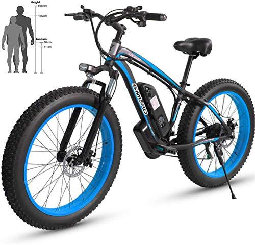 WJSWD Bicicleta eléctrica de Nieve, Bicicleta eléctrica Beach 48V 26 '' Fat Tire Potente montaña Motor Nieve Ebike de aleación de Aluminio de Bicicletas Batería de Litio Playa Cruiser para Adultos