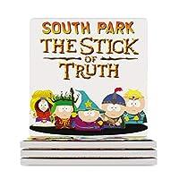 コースター 茶パッド サウスパーク South Park The Stick of Truth 断熱パッド おしゃれ セラミック製 高吸水性 断熱 速乾 吸水コースター 正方形コップ敷き 保護コルク裏面 滑り止め 4枚セット/6枚セット